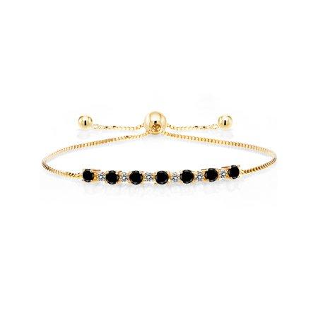 0.90 Ct Round Black Diamond White Diamond 18K Yellow Gold Plated Silver Adjustable Tennis Bracelet