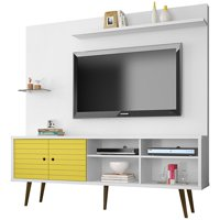 "Liberty 70.87"" Freestanding Entertainment Center with Overhead shelf in White and Yellow"