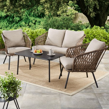 Mainstays Battle Creek 4-Piece Patio Wicker Conversation Set with Taupe/Gray Cushions