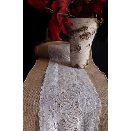 Quasimoon Vintage Burlap and Lace Style No.2 Table Runner (12 x 108) by PaperLanternStore - Burlap Aisle Runner With Lace