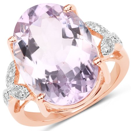 White Gold Genuine Amethyst Ring - 925 Sterling Silver & 18K Rose Gold Plated Genuine Pink Amethyst and White Topaz Ring (10.50 Carat) Multiple Sizes