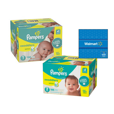 [Save $20] Size 1 & Size 2 Pampers Swaddlers Diapers, One Month Supply Packs (Total 384 Diapers) + Free $20 Gift Card