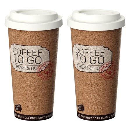 Life Story Corky Cup Reusable 16 Oz Insulated Travel Mug Coffee Thermos 2 Pack