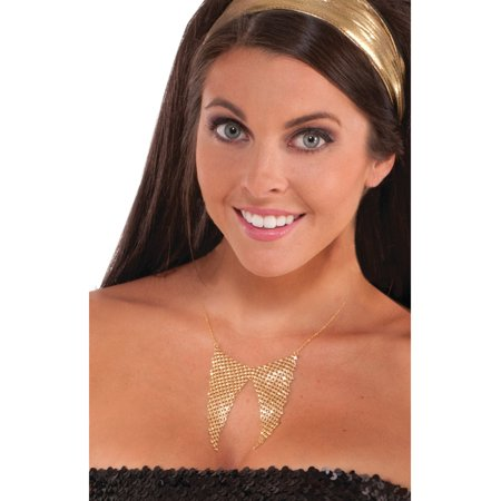 Adult's Womens 70s Disco Fever Gold Sequin Disco Necklace Costume Accessory