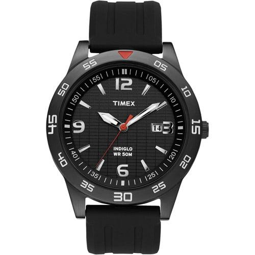 Timex Men's Sport Dress Watch, Black Resin Strap by Timex