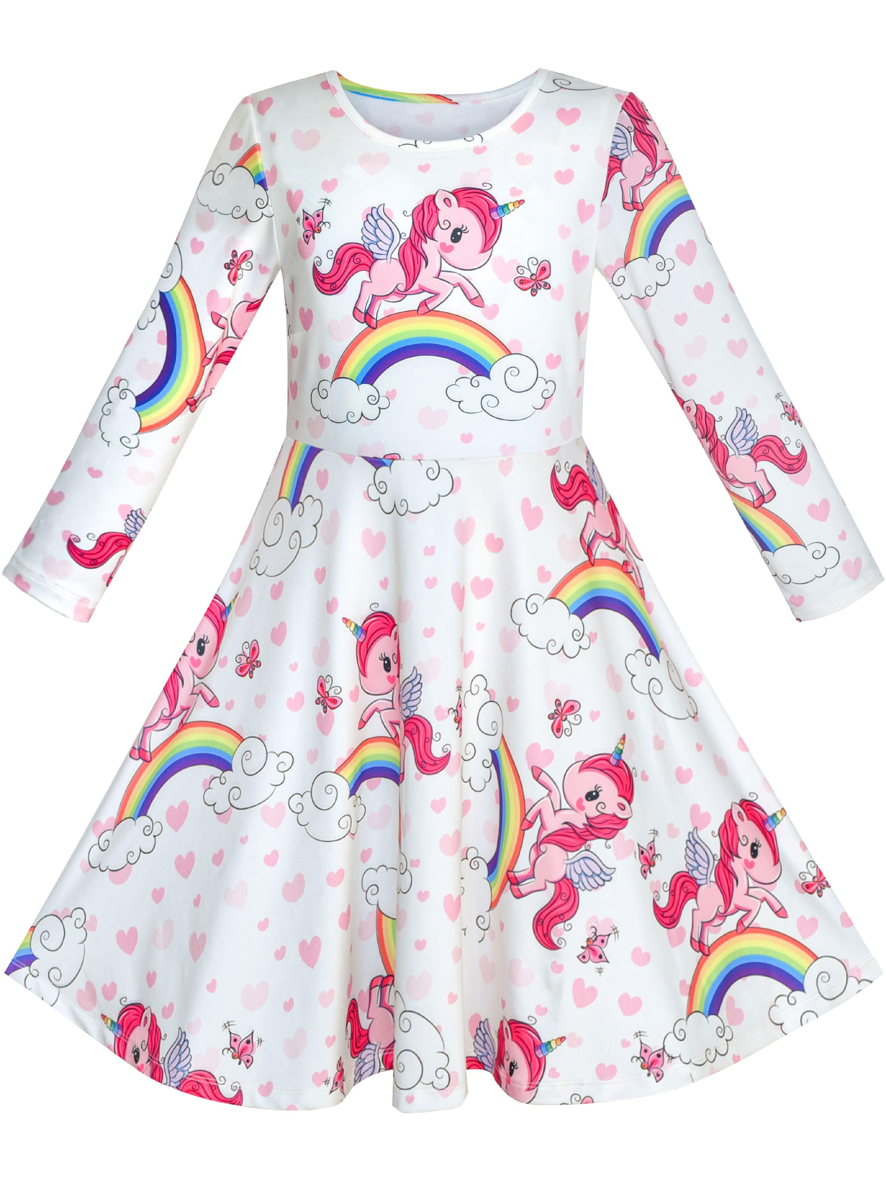 Girls Unicorn Rainbow Dress Children Summer Casual Clothes