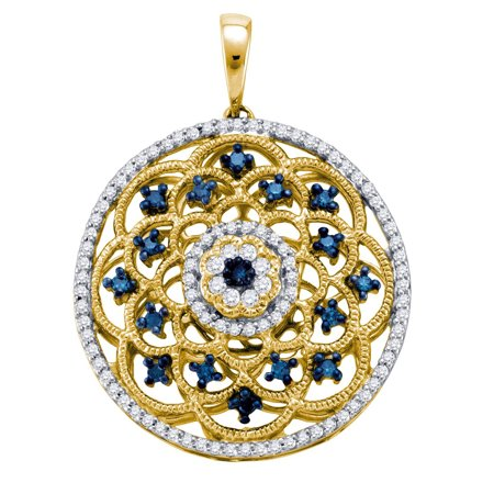 10kt Yellow Gold Womens Round Blue Colored Diamond Circle Fashion Pendant (.50 cttw.) Blue Circle Pendant