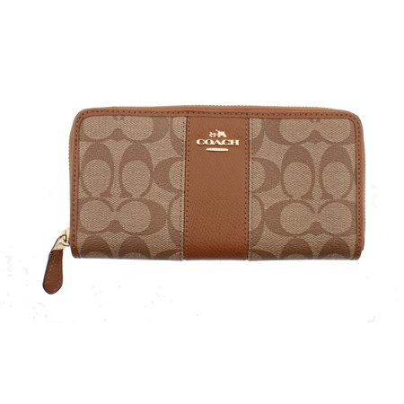 COACH Accordion Zip Wallet In Signature Coated Canvas With Leather
