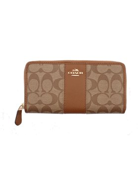 Product Image COACH Accordion Zip Wallet In Signature Coated Canvas With  Leather Stripe 2acaa6bdb6c7c