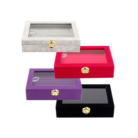 Velvet Jewelry Box Show Case Tray Rings Earings Bracelet Portable Necklace Glass Display Storage Gift Holder Wood Organizer Travel Cosmetic 4 Colors For Girls (4 Diamond Glass Jewelry Box)