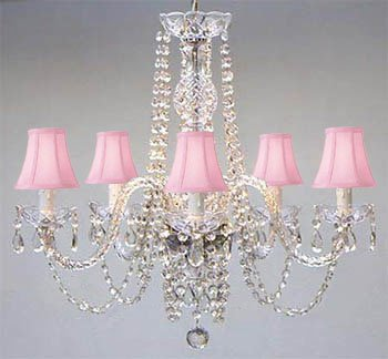 New! Authentic All Crystal Chandelier Lighting with Pink Shades! ()