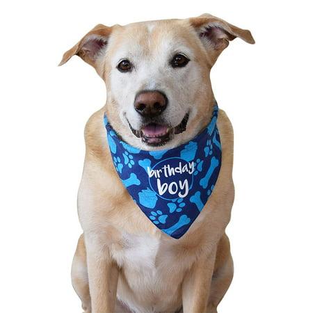 Dog Fashion Bandana - Peroptimist Dog Birthday Bandana Boy Blue Pet Scarf Neckerchief Fashion Accessory For Puppy