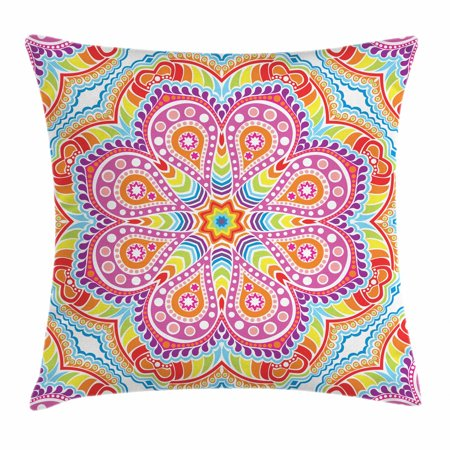 Rainbow Mandala Throw Pillow Cushion Cover, Colorful Oriental Mandala Motif with Stars Paisleys and Dots Kaleidoscope, Decorative Square Accent Pillow Case, 16 X 16 Inches, Multicolor, by Ambesonne