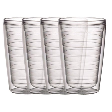 Boston Warehouse 16oz Insulated Tumblers, Clear, Set of 4