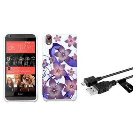 Usb Hybrid (Insten Hibiscus Flower Romance Hard Hybrid Case For HTC Desire 626/626s - Purple/White (+USB Cable) )