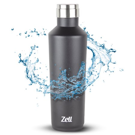 Zell Vacuum Insulated Powder Coated Water Bottle | Leak-proof Double Walled Stainless Steel Wine Shape Travel Water Bottle | No Sweating, Keeps Your Drink Hot & Cold | 25 Oz (750 ml) |