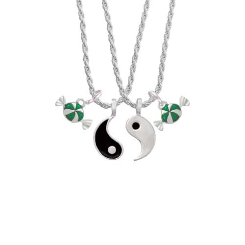 """Green Peppermint Candy Yin Yang Necklace Set, 20""""+3"""""""