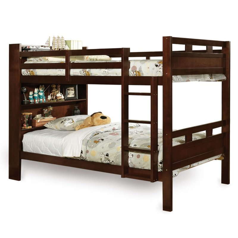 Bowery Hill Twin Over Twin Bunk Bed in Walnut