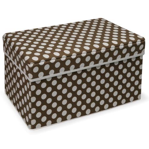 Badger Basket Double Folding Brown Polka Dot Storage Seat