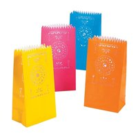 "Paper Fiesta Luminary Bags (12 Pack) 5"" x 3 1/4"" x 10"". Paper., 12 Assorted Colors - Fiesta Luminary Bags By Fun Express"
