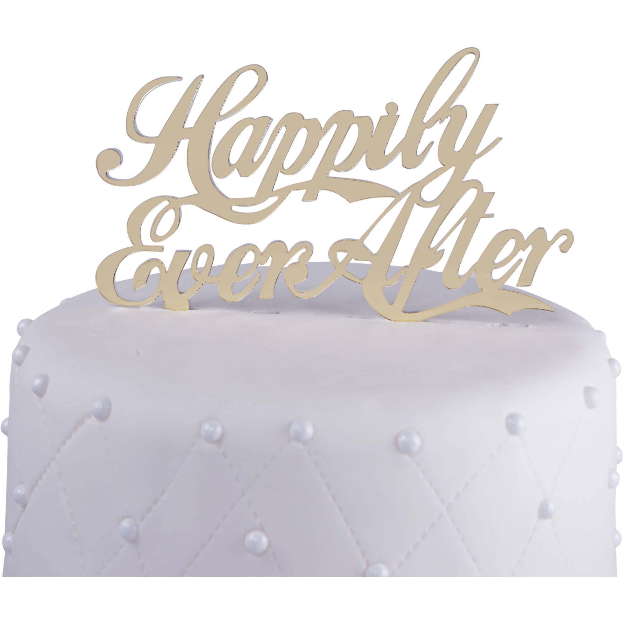"Unik Occasions ""Happily Ever After"" Acrylic Wedding Cake Topper, Gold Mirror"