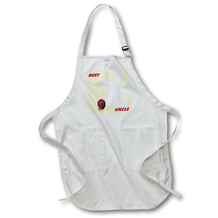 3dRose Red Apple and Star With Words Best Uncle - Full Length Apron, 22 by 30-inch, Black, With