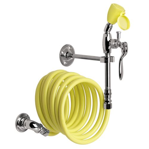 "Speakman SE-925 Wall Mounted Drench Hose with Stay Open Valve and 144"" Recoiling"