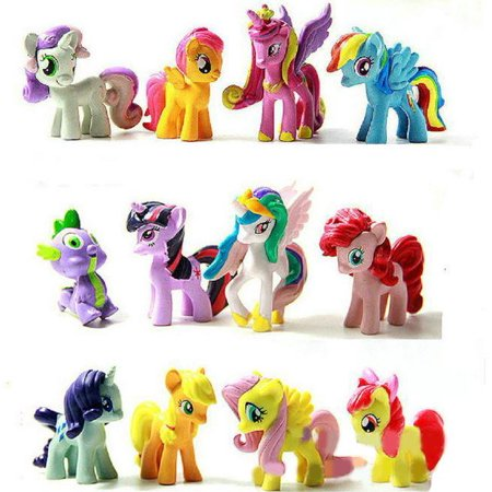 My Little Pony Inspired Set 12 pcs Toys PVC Mini Figure Collection Playset 1.5-2' Tall Cake Topper ()
