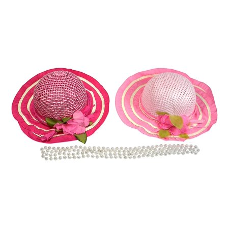 Girl's Tea Party Dress Up Set with 2 Fuchsia and Pink Sun Hats and 2 Faux Pearl Necklaces