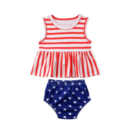 Baby Girl My First 4th of July Outfits Summer Striped Stars Amarican Flag Shirt Star Shorts Clothes - Zombie Diy Outfit