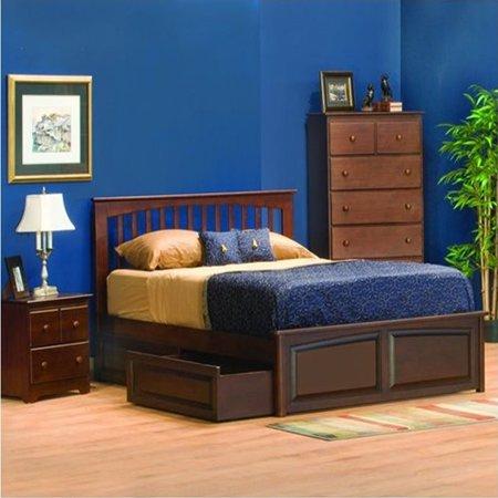 Atlantic Furniture Brooklyn Platform Bed in Antique Walnut-Twin - Atlantic Furniture Brooklyn Platform Bed In Antique Walnut-Twin