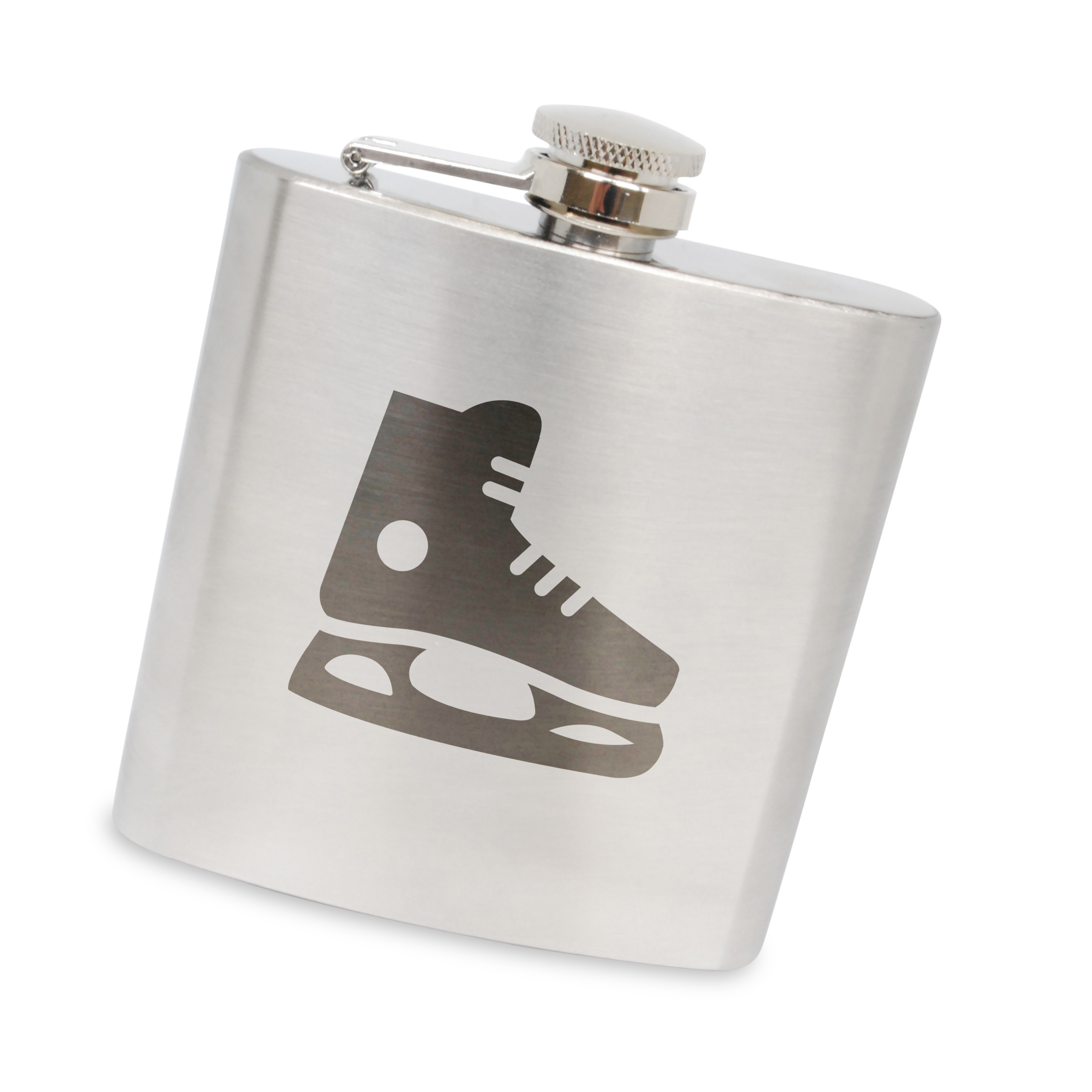 Hockey Skate Stainless Steel 6 Oz Flask. Made In The Usa. by BigSpool Distributors