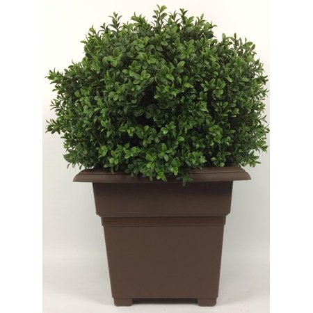 Outdoor Artificial Uv Rated 2 Ft Ball Boxwood Topiary Tree With Square Brown Planter