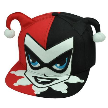 20910a5122c55 Harley Quinn Batman Villain Cartoon DC Comics Hat Cap Snapback Flat Bill Red  Blk - Walmart.com