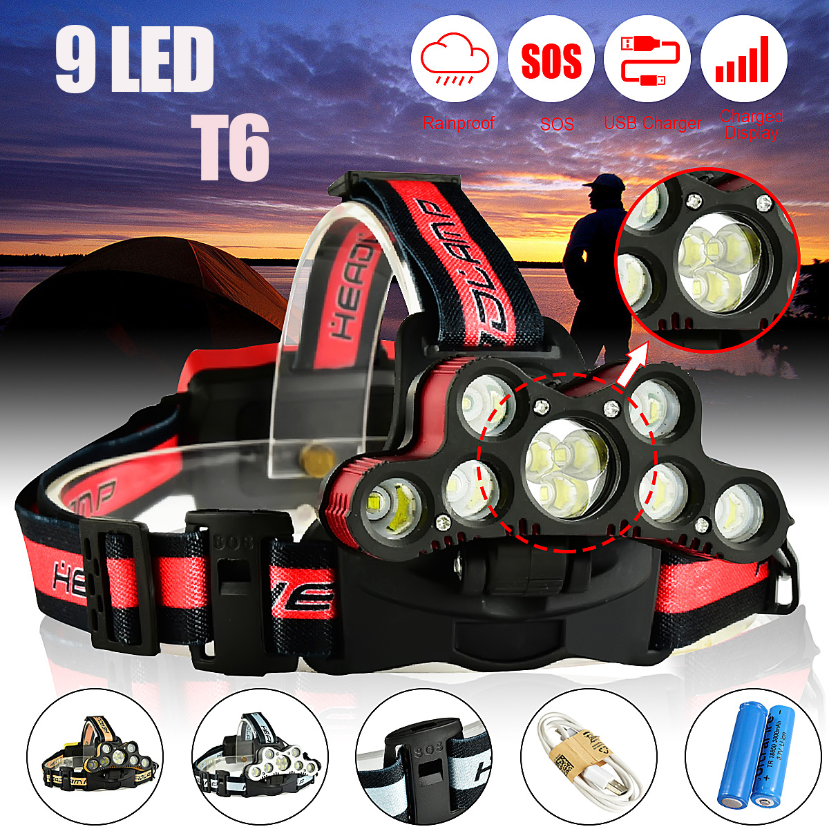 7000LM 9 T6 LED Headlamp USB Rechargeable 18650 Zoomable Headlight Torch Lamp + 2Pcs 18650 Battery + USB Cable -SO S Help whistle