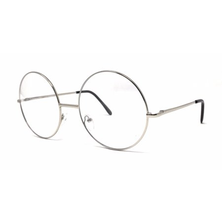 Large Oversized Big Round Metal Frame Clear Lens Round Circle Eye Glasses Black (Big Glasses Frames)