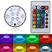 Submersible 10 LED Waterproof Light RGB for Vase Wedding Party Fish Tank Decors + Remote
