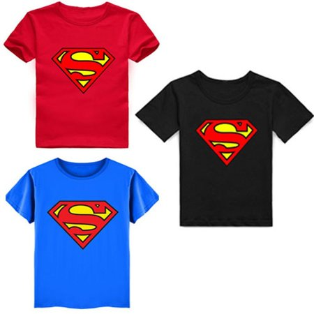 New kids Boys Children's Superman Cotton Short-Sleeved T-shirt 3 colors 2-7Years - Kids Superman Converse