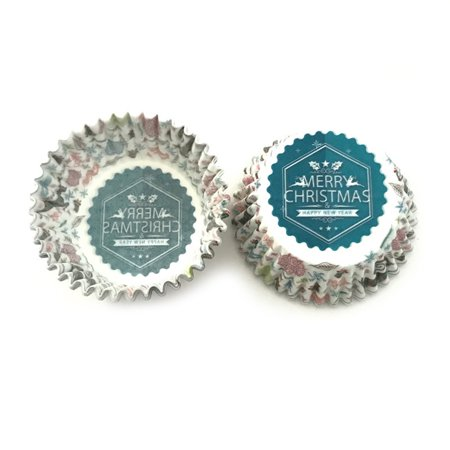 Jeobest Mini Cup Cake Papers - Cake Paper Cup - Cupcake Paper Liners Mini - 100 Pack Christmas Series Cupcake Liners Baking Paper Cups High Temperature Bakeware Oilproof Paper Cake Paper Holder MZ