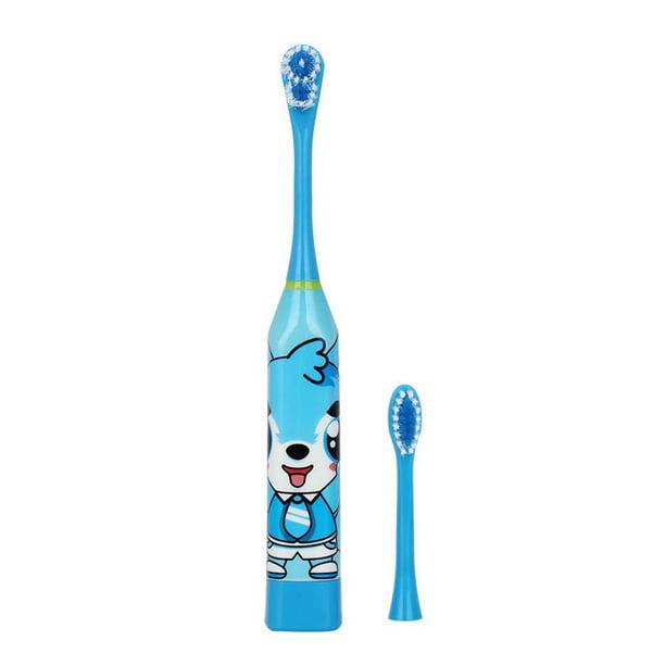 Kids Dental Oral Care Electric Toothbrush Ultrasonic Waterproof 2 Brush Heads
