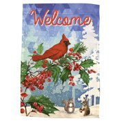 """Welcome Winter Christmas Garden Flag - 12"""" x 18"""", Double Sided, Festive Christmas Animals, Blue, White, Green, Red, Yard Dcor"""