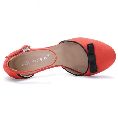 HF-6 Women Round Toe Bow Decor Block Heel Ankle Strap Pumps Orange Red/US 7 - image 1 de 7