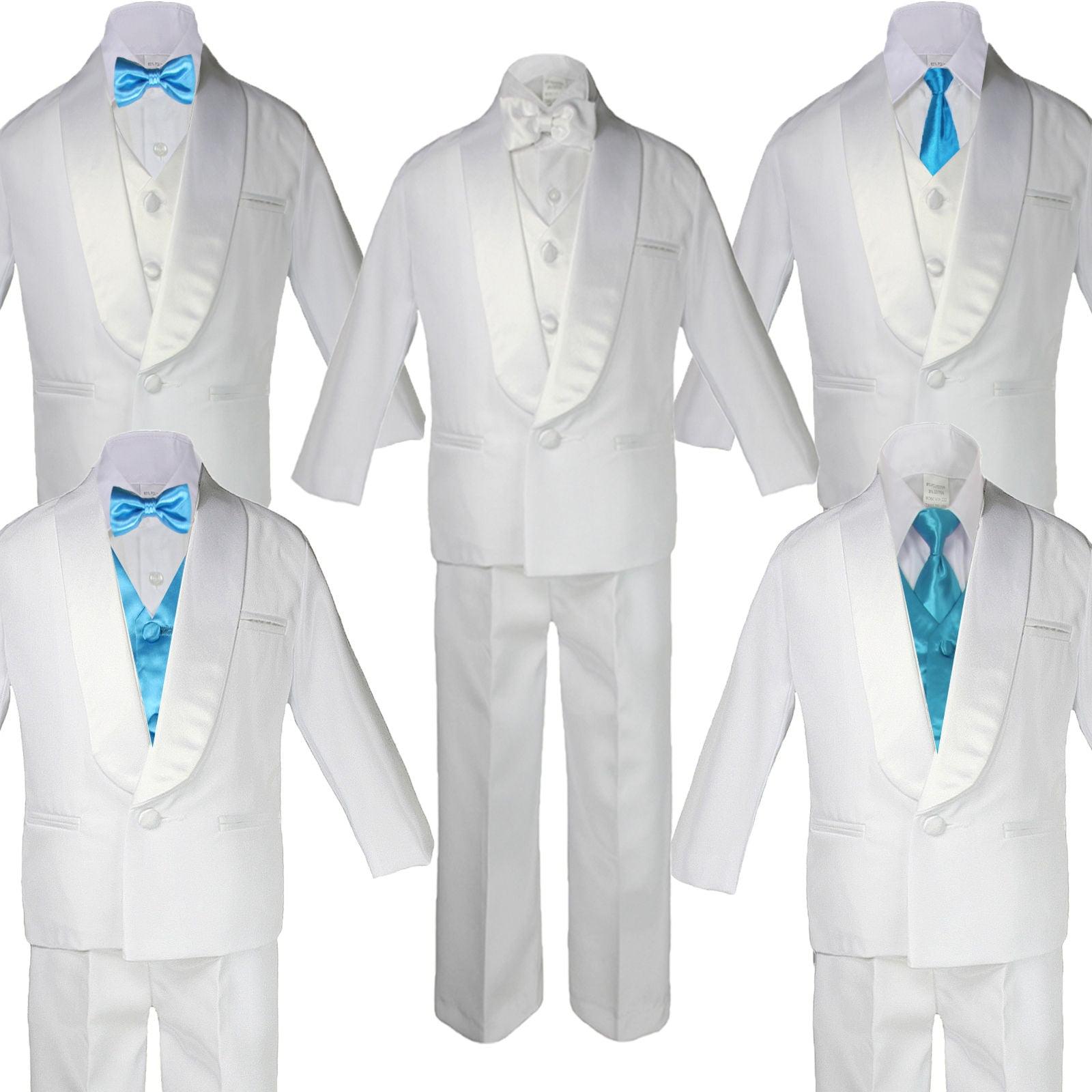 Baby Teen White Satin Shawl Lapel Suits Tuxedo AQUA BLUE ...