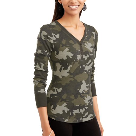 Time and Tru Womens Long Sleeve Thermal Henley