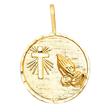 Cross & Praying Hands Charm 14k Solid Yellow Gold Circle Disc Medallion Religious 15mm x 15mm