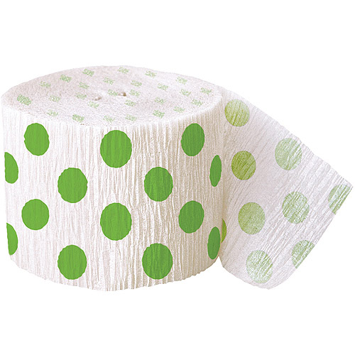 Crepe Paper Lime Green Polka Dots Party Streamers, 30'