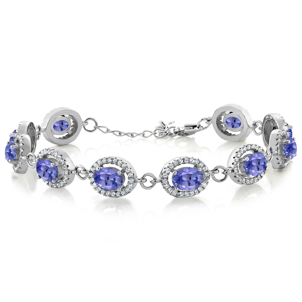 10.38 Ct Oval Blue Tanzanite 925 Sterling Silver Bracelet by