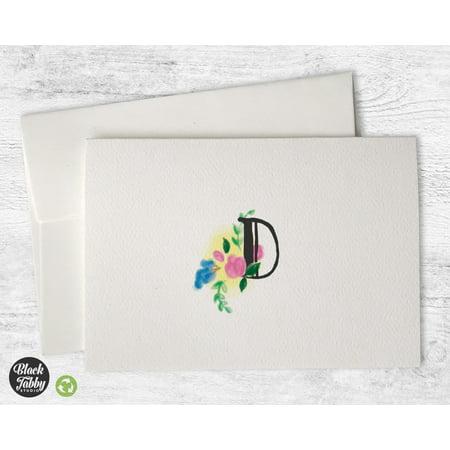 - Floral Monogram (Letter D) - Stationery Cards