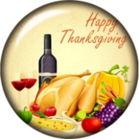 Snap button Wine Happy Thanksgiving Turkey Pumpkin corn 18mm Cabochon chunk (Cabochon Wine)