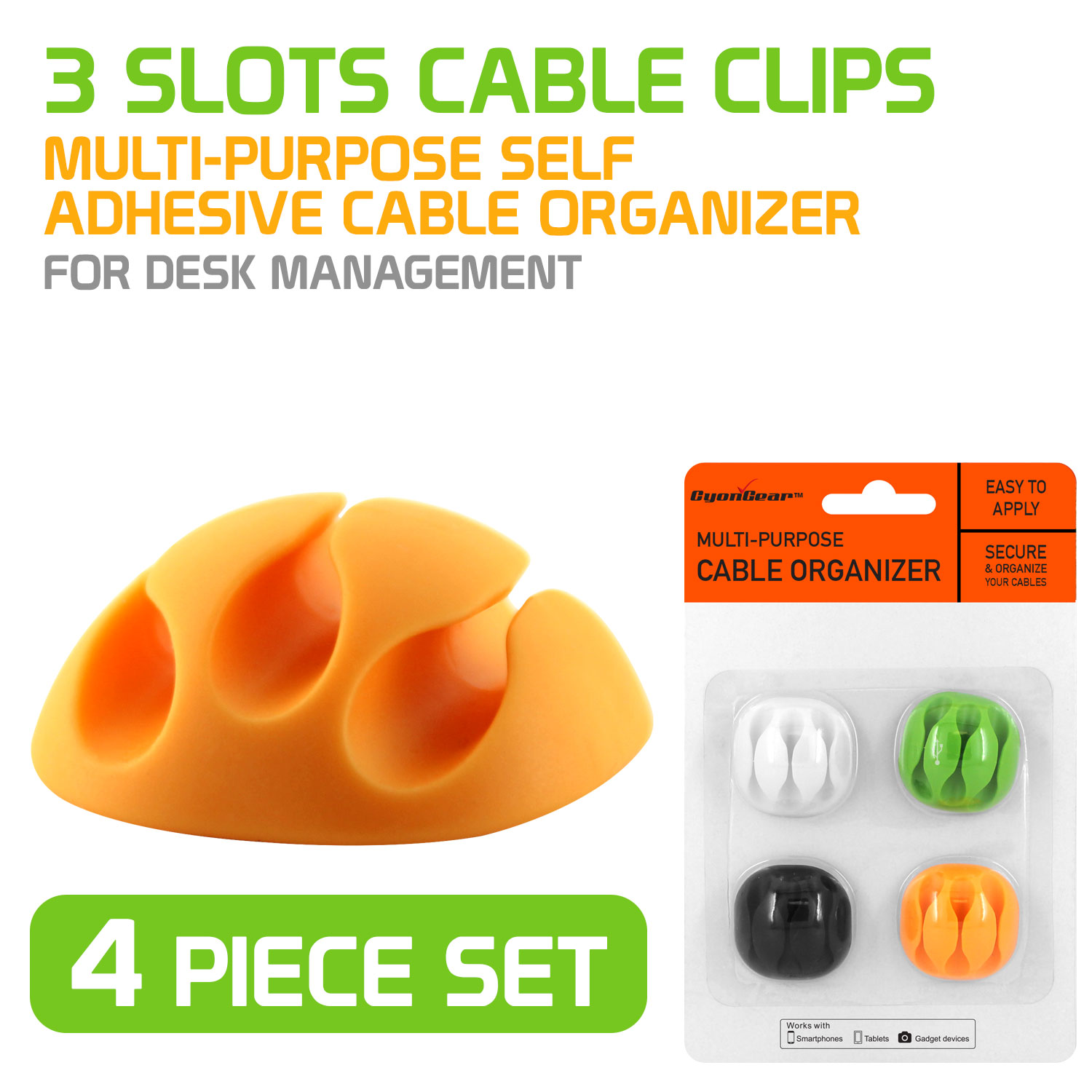 4 Piece Set of Multi-Purpose Self Adhesive 3 Slot Cable Organizer / Cable Clip